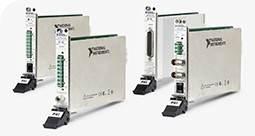 Side view of NI PXI Source Measure Units