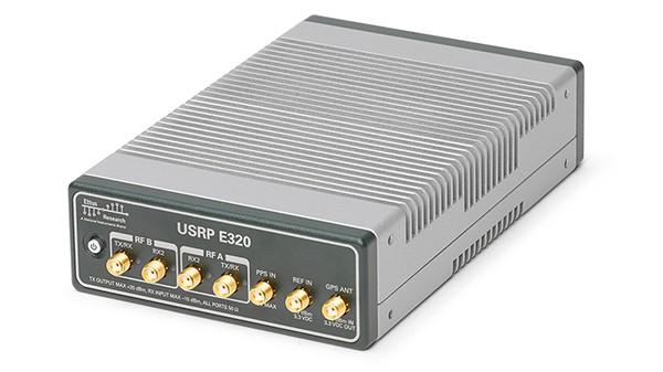 Front view of Ettus Research ruggedized USRP E320