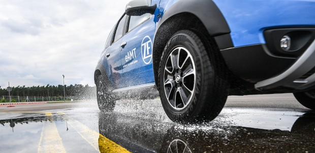 Engineers collect test data from test drive of autonomous vehicle.