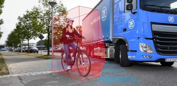 Cameras, radar, and lidar provide a full-circle view around a truck, including cyclists and pedestrians on the side of the road.