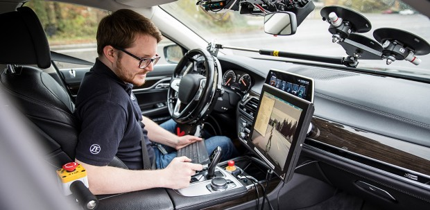 ZF engineer collects data from sensors on an autonomous vehicle.