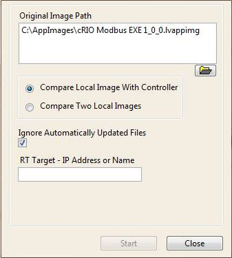 Compare Local Image to Network Controller Dialog