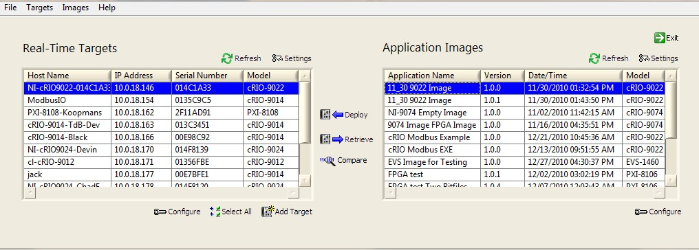 RT Application Deployment Utility with RT Targets and Application Images