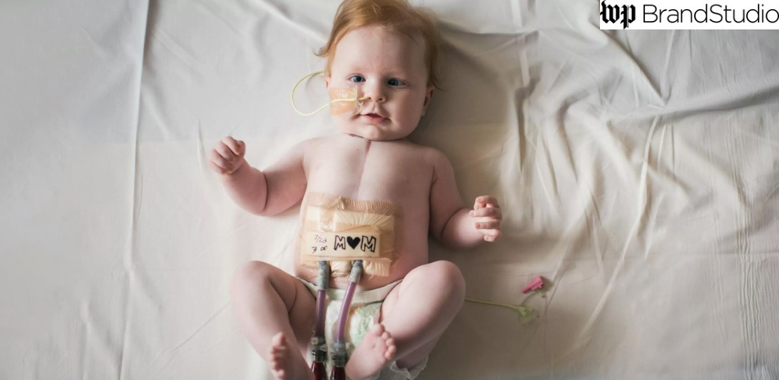 A baby awakens after surgery.