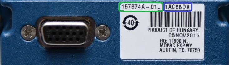 Part Number highlighted in green followed by serial number highlighted in blue.
