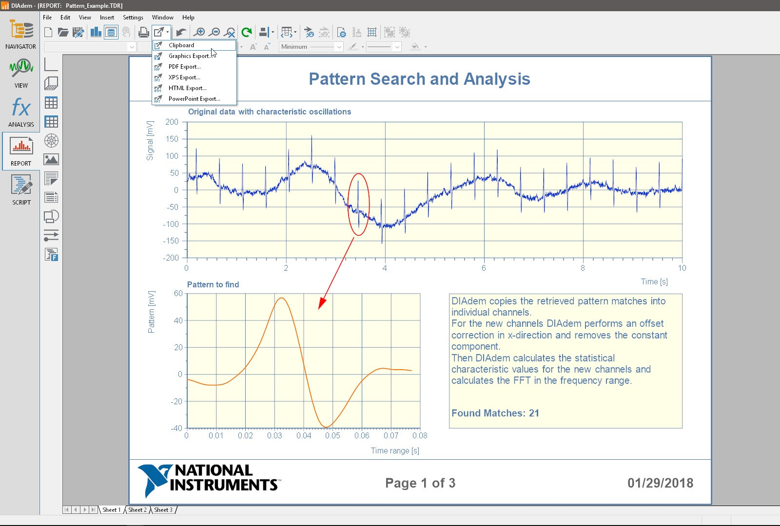 Export reports created in DIAdem to popular file formats like PDF and PowerPoint