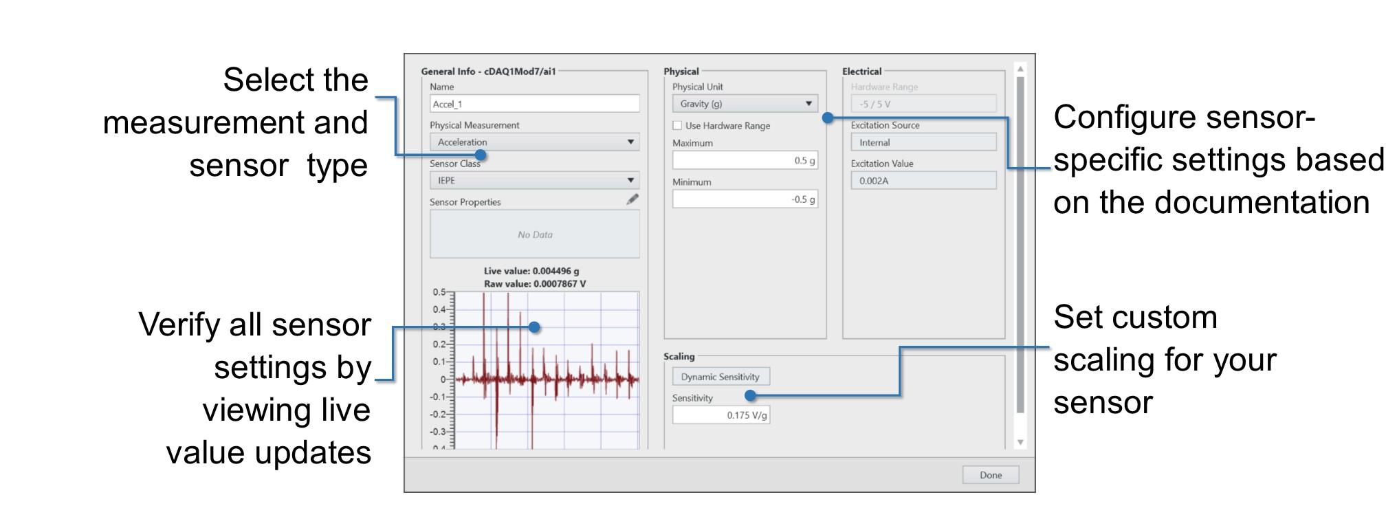 The FlexLogger General Info window helps you configure a vibration measurement.