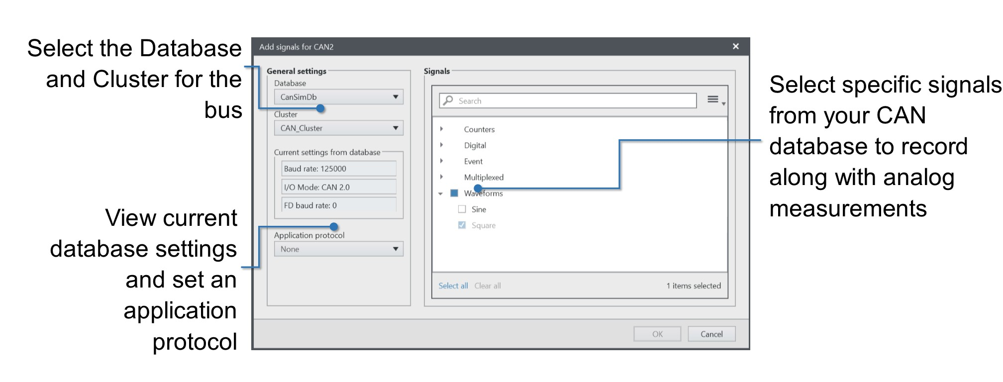 FlexLogger includes dialog boxes that help you import CAN databases.