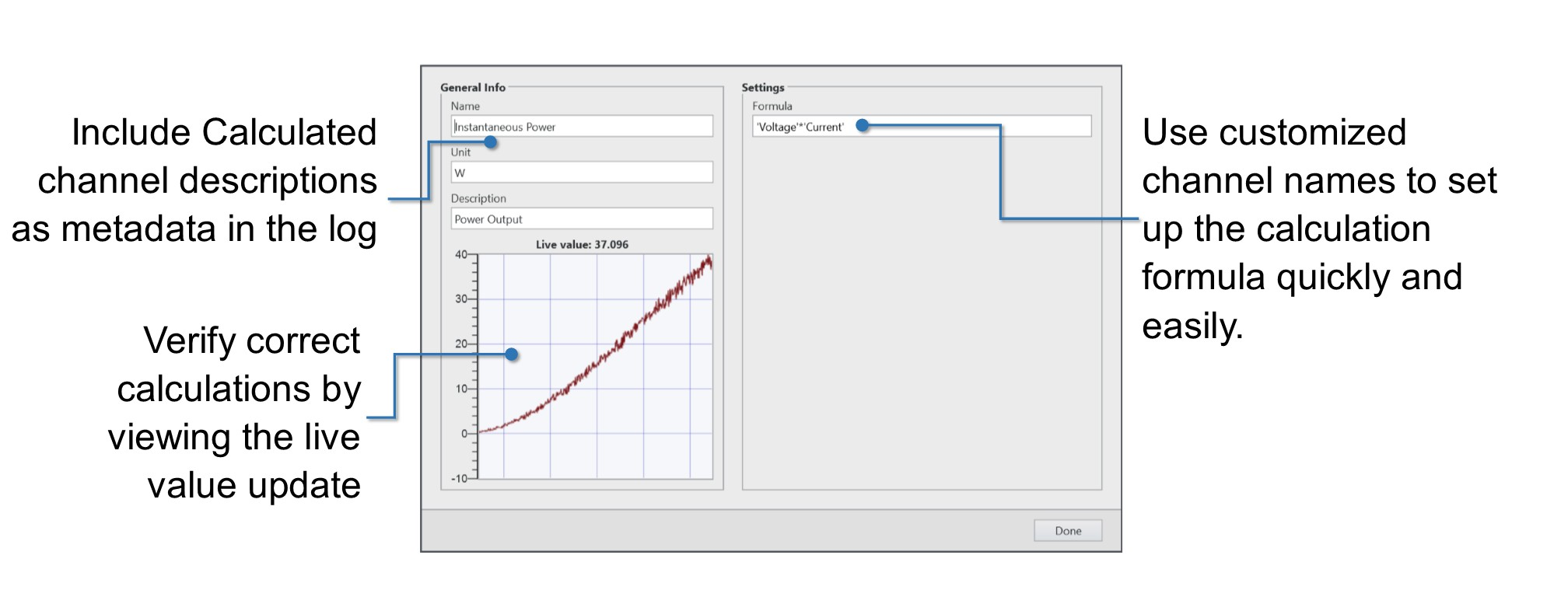 FlexLogger includes dialog boxes that help you create calculated channels.