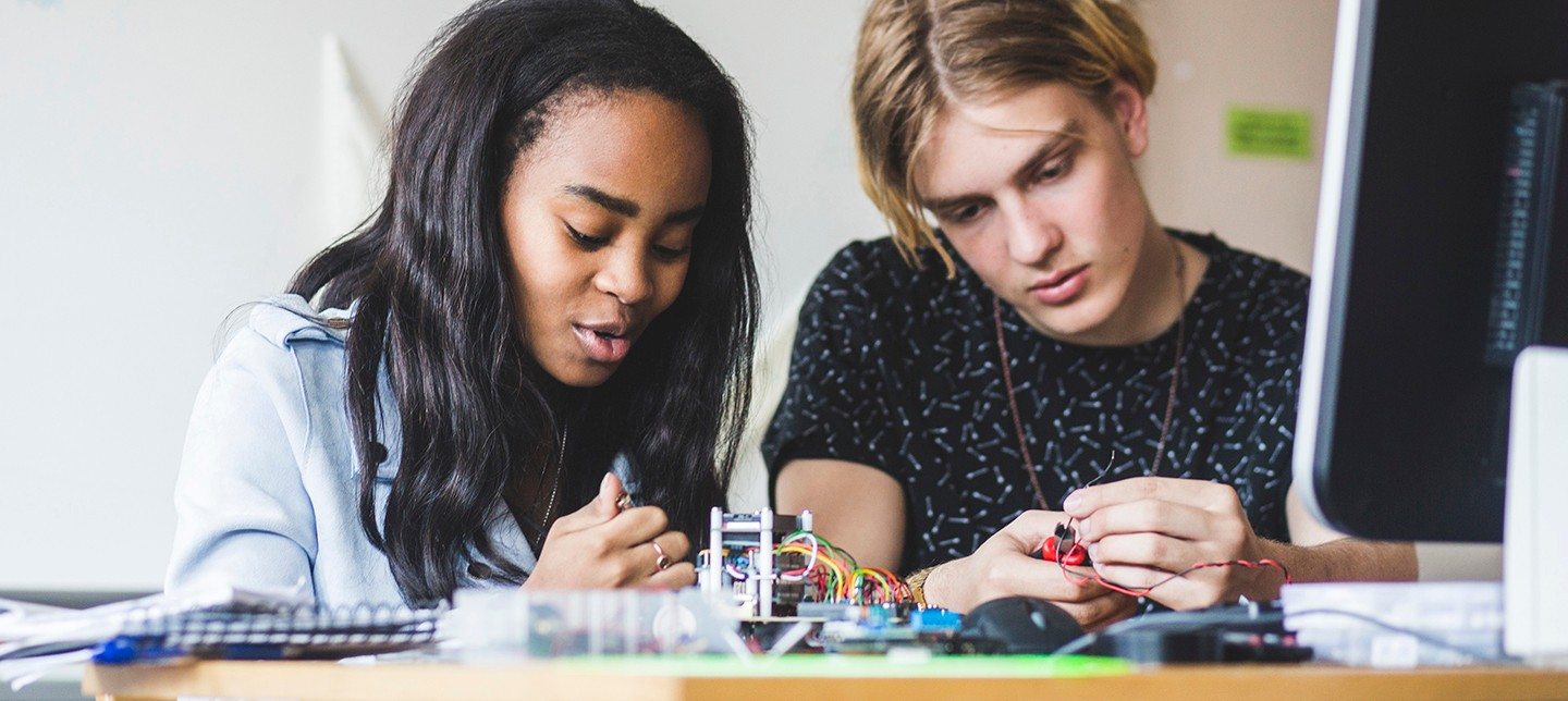 A pair of students participate in MASTERY: Mindset, Art, Storytelling, Technology, Economy, Reflection, and You