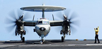 Front view of Northrop Grumman E-2 Hawkeye