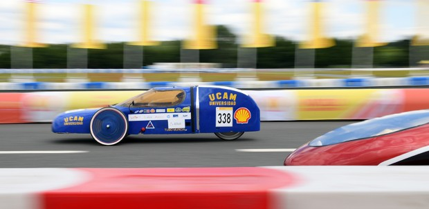 A student driver from the Universidad Catolica San Antonio de Murcia, Spain competes in the Shell Eco-marathon