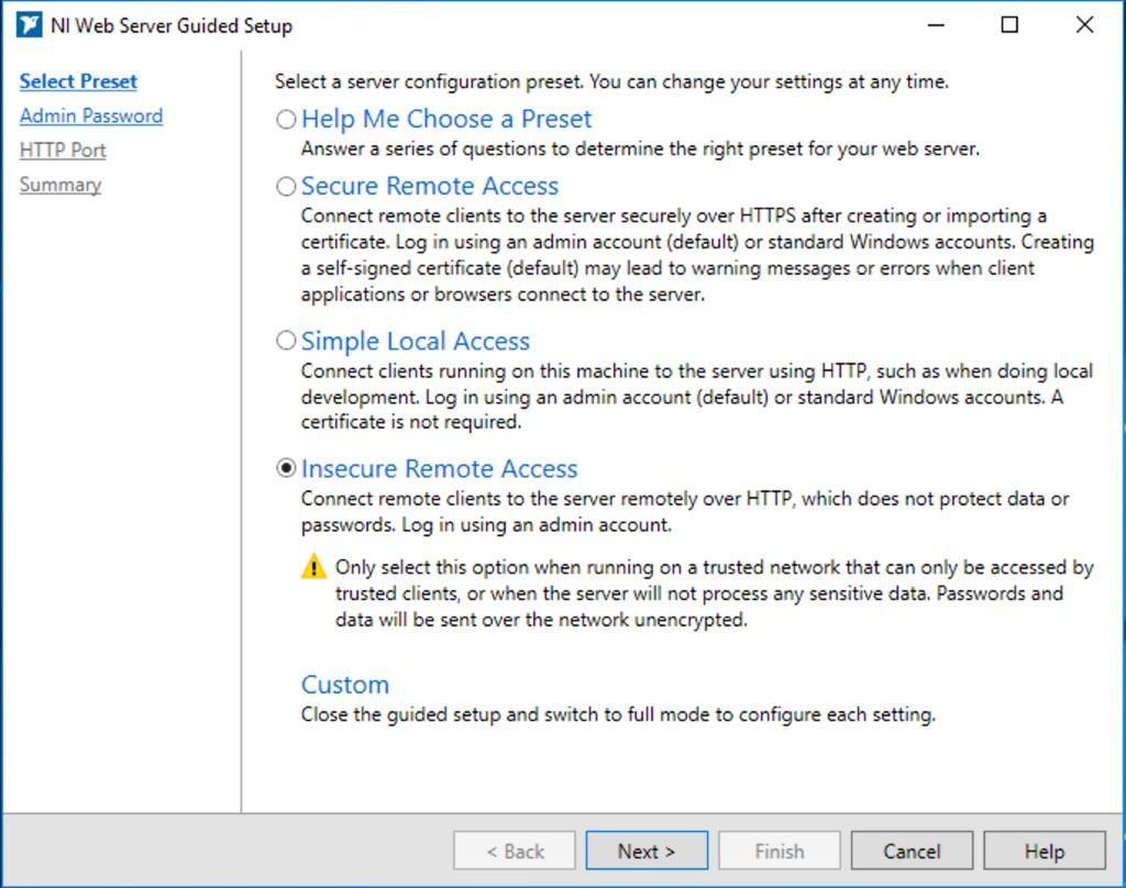 NI Web Server Configuration Utility Guided Setup