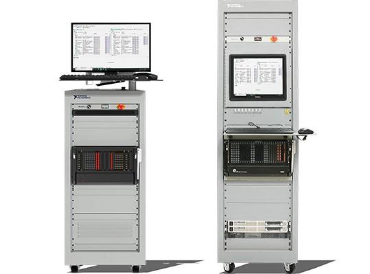 Front view of IEC 61340-5-1 compliant racks in 24U and 40U form factors