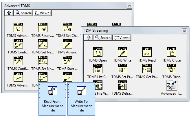 You can choose from several interfaces in LabVIEW to read and write TDMS files