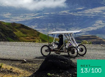 Electically-assisted handcycle is driven up Ras Dashen, Ethiopia