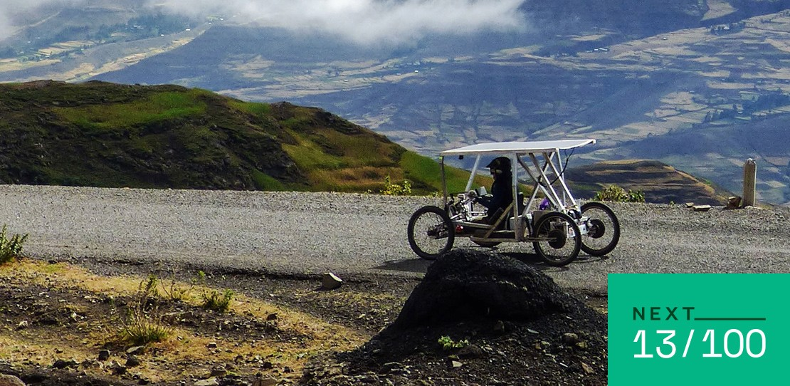 Electically-assisted handcycle is driven up Ras Dashen, Ethiopia.