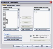 Settings for the DC Operating Point Analysis