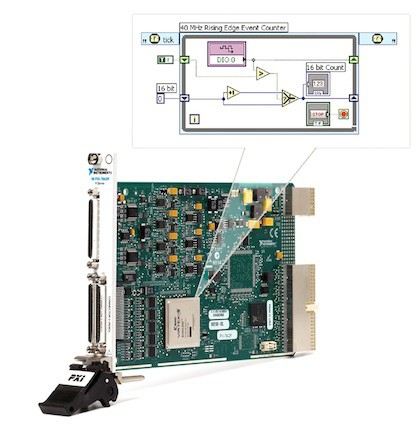 With the NI LabVIEW FPGA Module, you can use familiar LabVIEW code to customize your PXI instrumentation