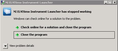 Instrument Launcher closes unexpectedly after launch